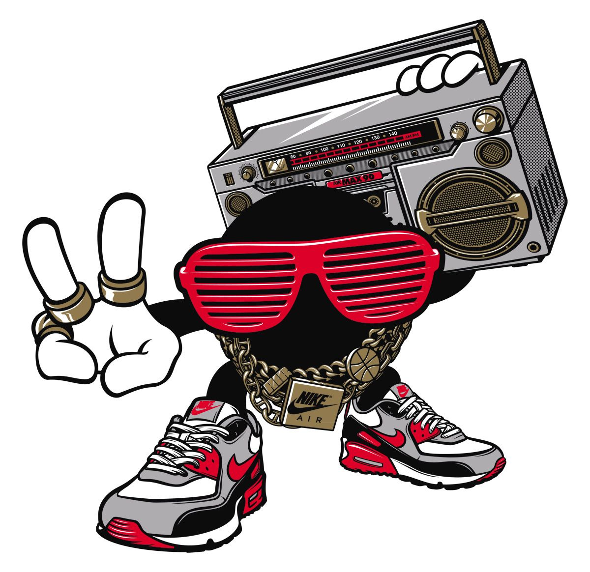 "Two illustrations for graphic tees for Nike Footlocker Europe.""Mr. Bad Airs does Hip Hop"" - Mr. Bad Airs character with Nike Air Max 90's and hip-hop elements.""SO FLY"" - Fly character with Nike Sunrise shoes and a boombox."