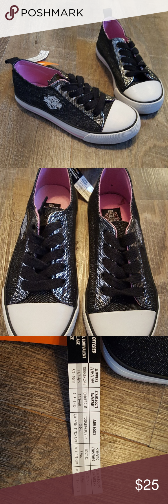 b9b342aeae8a Black White with pink interior Size  1 New with tags Harley-Davidson Shoes  Sneakers