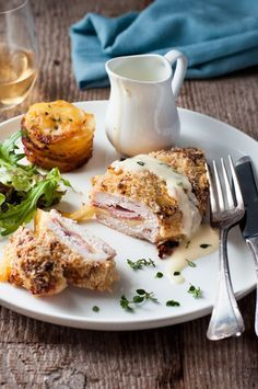 Easy Chicken Cordon Bleu - an easy midweek version with all the flavour and crunch, but healthier and FAR easier to make. Served with an incredible Dijon cream sauce!