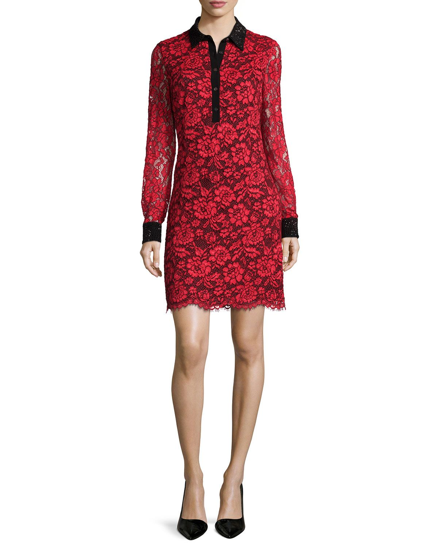 Diane von Furstenberg Long-Sleeve Floral Lace Shirtdress, Poppy/Black, Women's, Size: 2