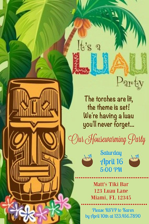 Housewarming Luau Party Invitation Invite Home Sweet Ti