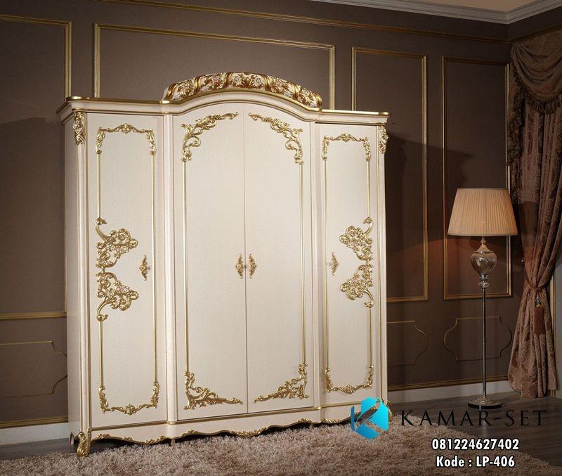 Model Lemari Pakaian Ukir Mewah Pintu Kaca Desain Klasik ...