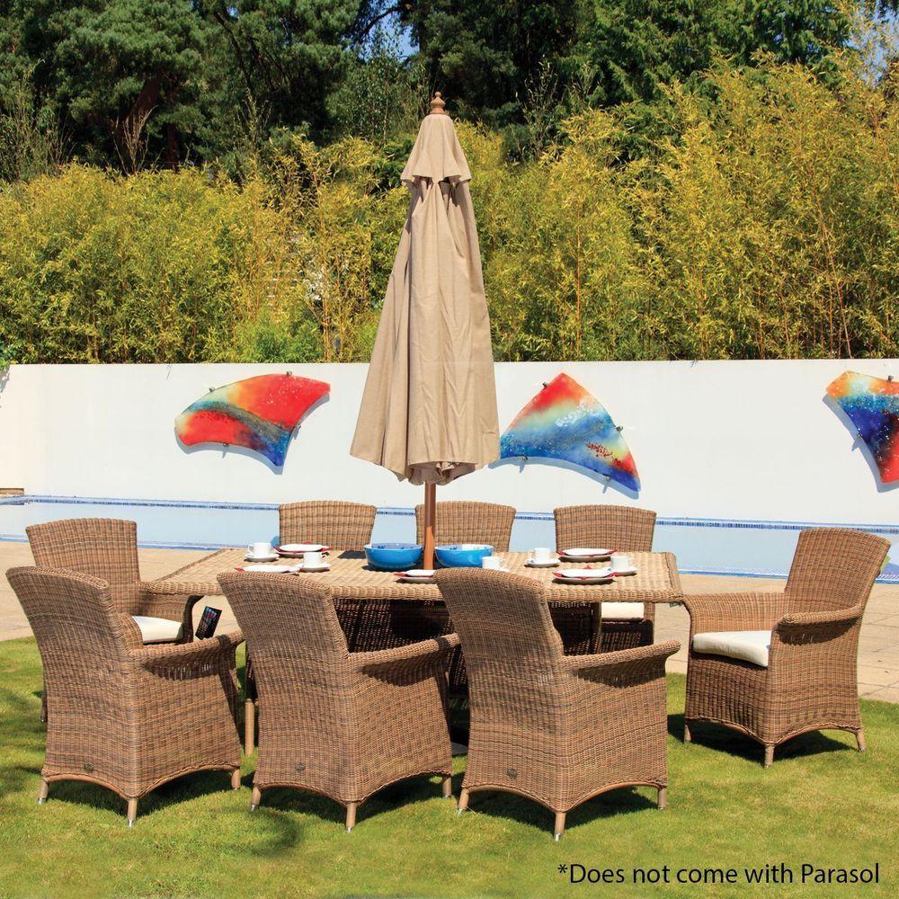 8 seater garden dining set rattan glass table armchair cushion