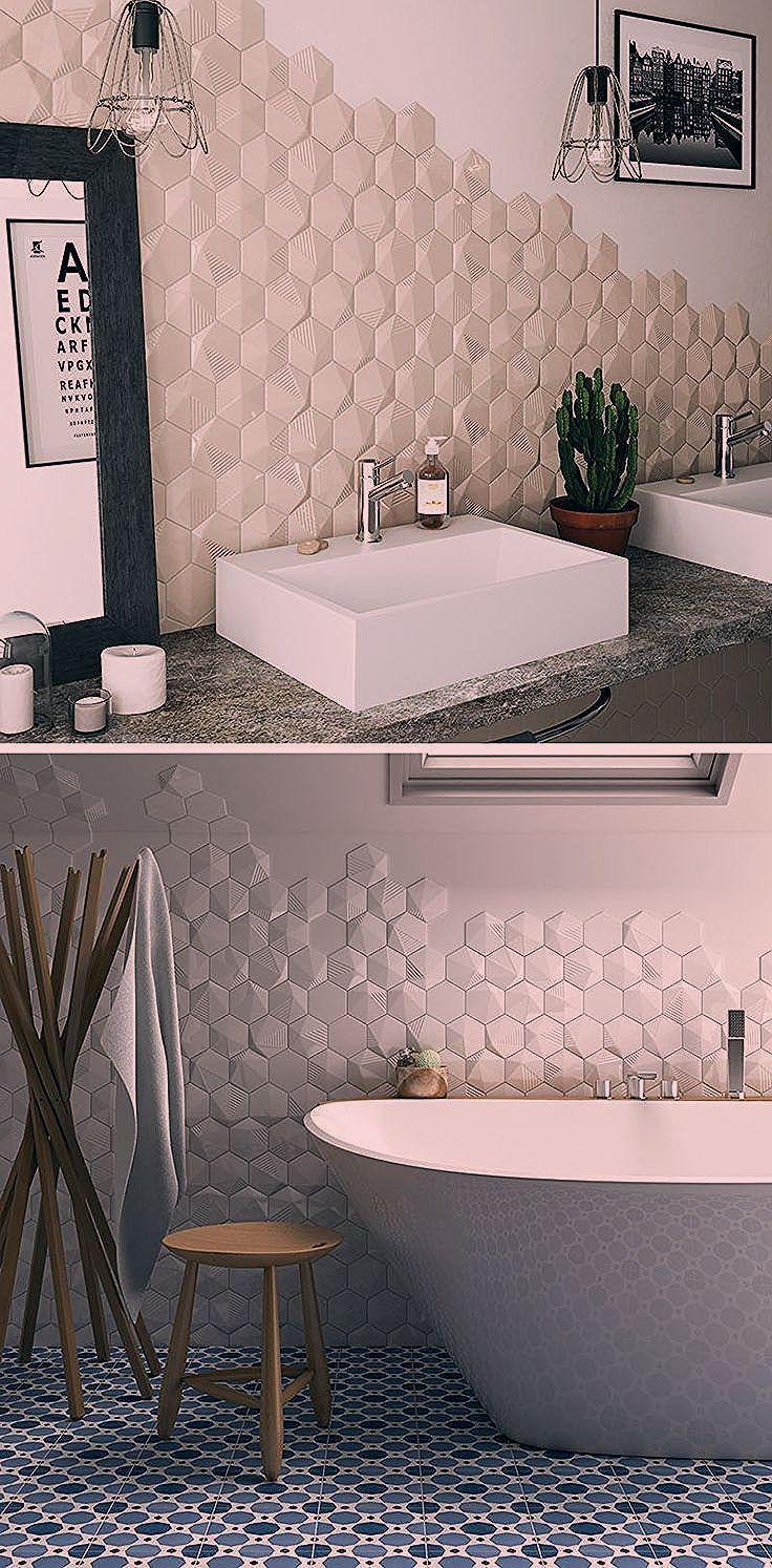 Badezimmer Fliesen Ideen Installieren 3d Fliesen Zu Hinzufugen Textur Ihr Bad Hexagonal Fliesen Mit Ein Bisschen T In 2020 3d Fliesen Badezimmerfliesen Badezimmer