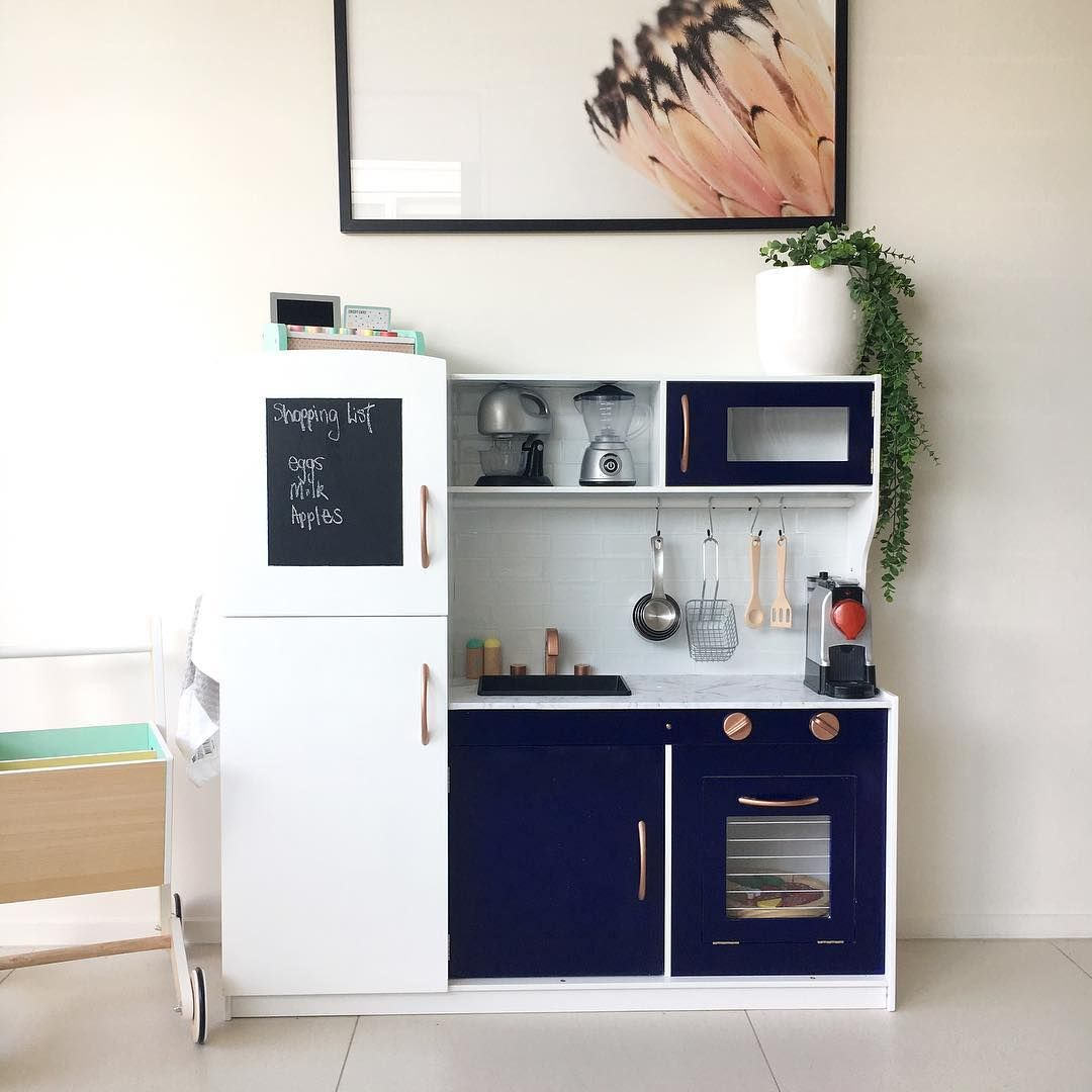 These Clever Parents Are Hacking The Kmart Kids Wooden Kitchens You Can Too With Images Ikea Play Kitchen Play Kitchen Kids Wooden Kitchen
