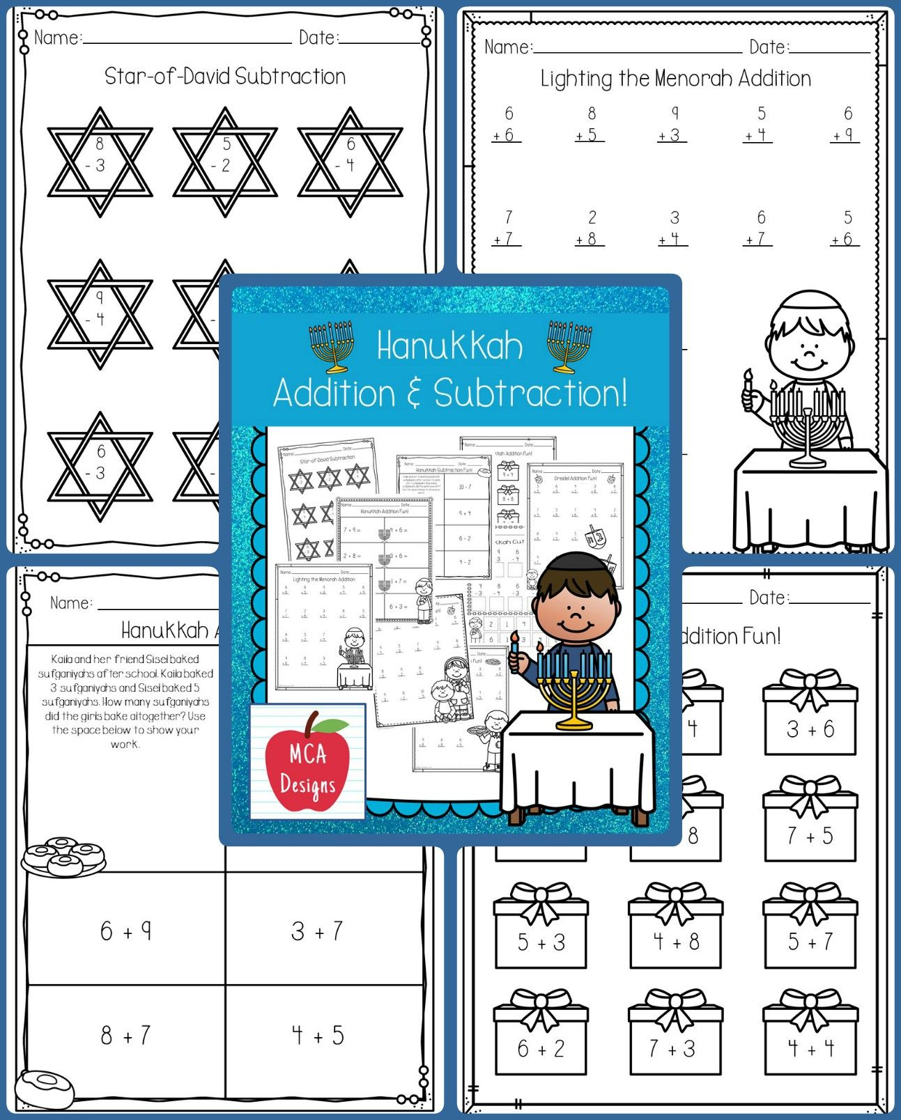 Hanukkah Addition And Subtraction With Images