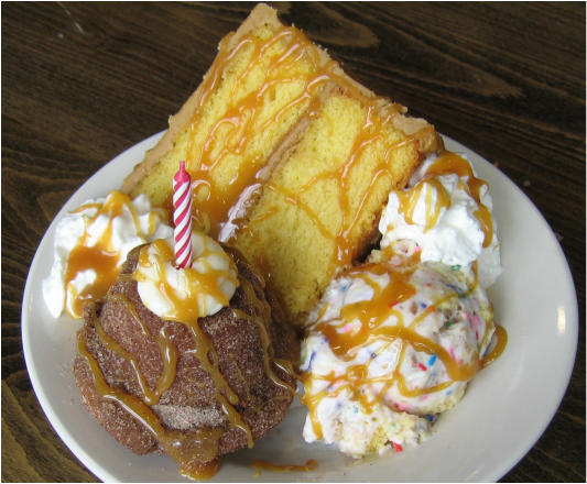 The Best Ice Cream Desserts in Every State ~ Kentucky: Louie's Birthday Party in the Ville! from Homemade Ice Cream and Pie Kitchen ... King Louie really knew how to get his party on in Louisville. This bomb ice cream dessert is a slice of yellow cake with caramel and a Snickerdoodle cupcake along with hand churned Birthday Party ice cream, with a caramel drizzle topped with whipped cream. The best part? It comes with a candle, so it gives you a reason to celebrate your bday even when it's…