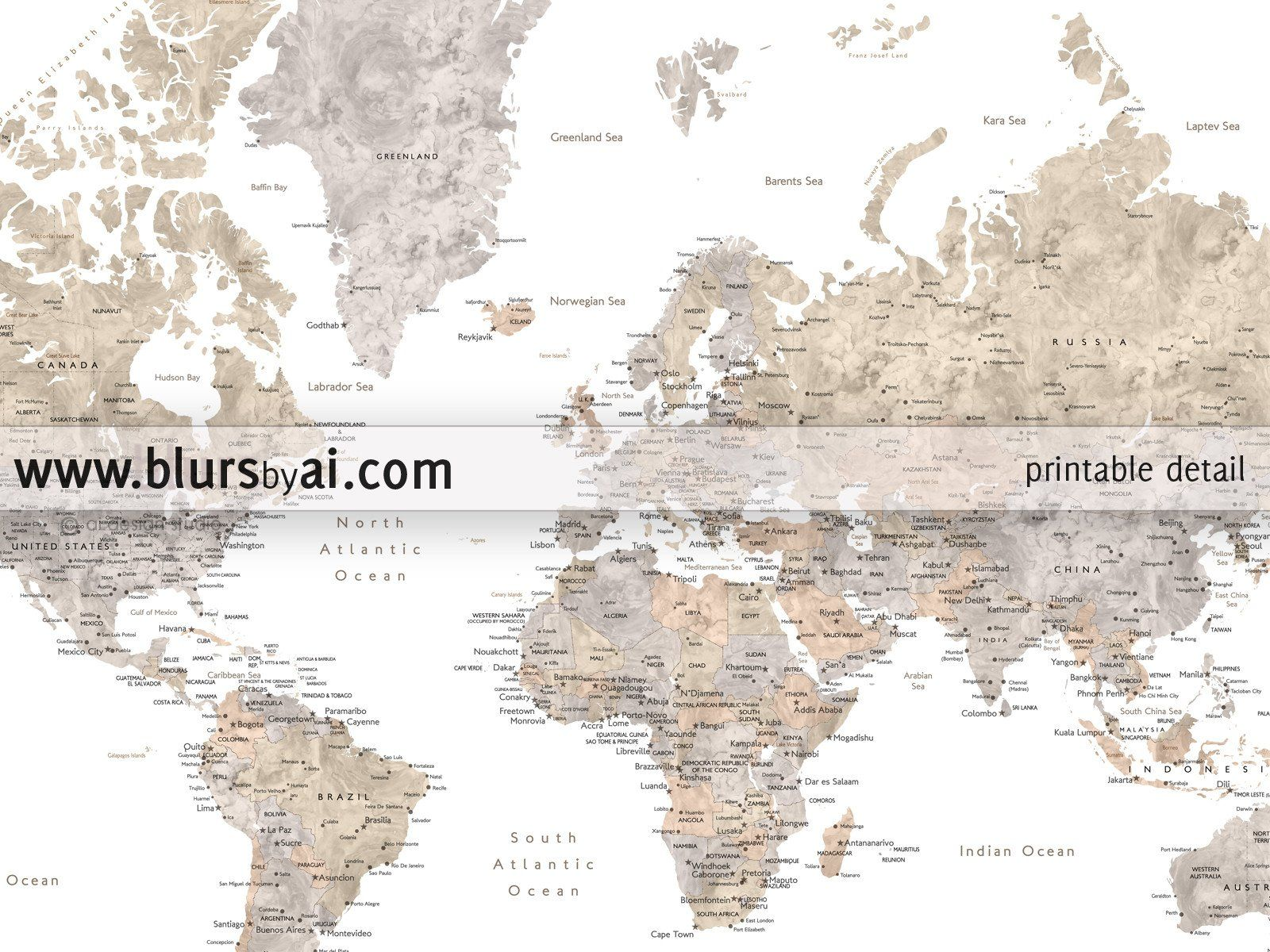 Printable watercolor world map with cities in neutrals, no quote ...