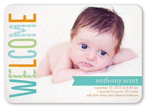 Welcome Little Boy 5x7 Stationery Card by Hello, Kelle | Shutterfly