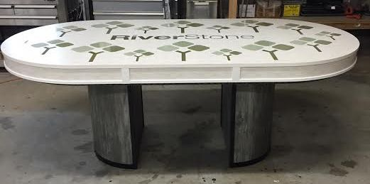 Custom Poker Table W/ Dining Table Top With Text U0026 Logos