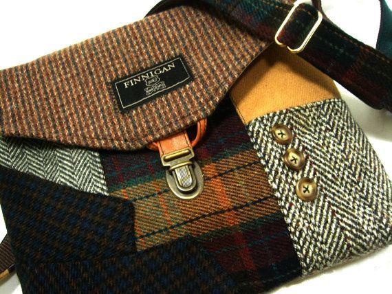 Crossbody Purse Messenger Bag Wool Purse Recycled Purse