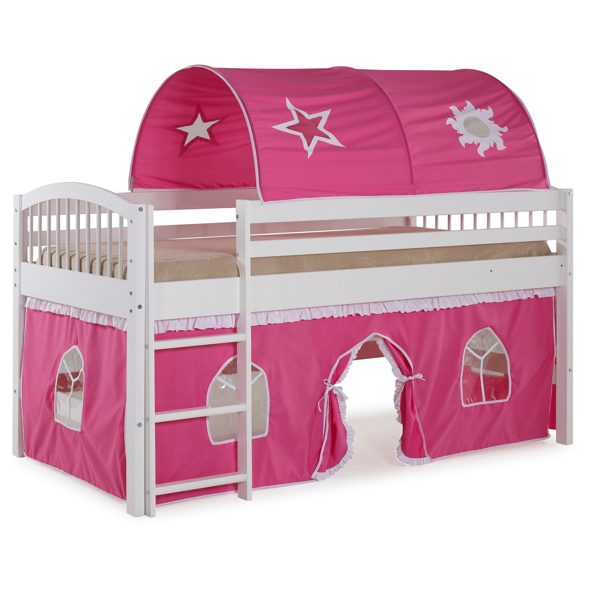 Twin Addison Junior Loft Tent Bed White/Pink Alaterre