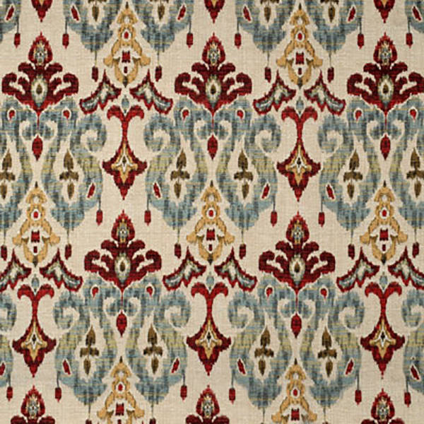 This Is A Red Yellow And Blue Woven Ikat Design Upholstery Fabric