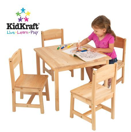 Walmart Table And Chair Sets Collapsible Garden Chairs Farmhouse Four Set Natural For Sale At Canada Shop Save Toys Everyday Low Prices Ca