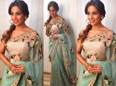 a0ffa8fb9e Seagreen Worked Net Bollywood Saree With Blouse Bollywood Sarees Online on  Shimply.com