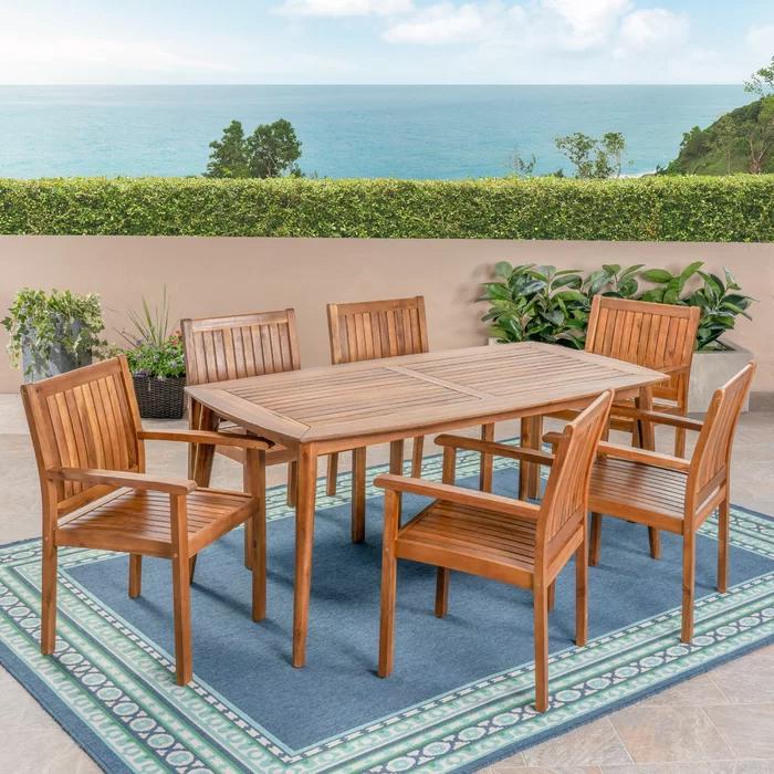 Duran Rectangular 6 Person Teak Dining Set Acacia Dining Set Teak Patio Furniture Patio Dining Set