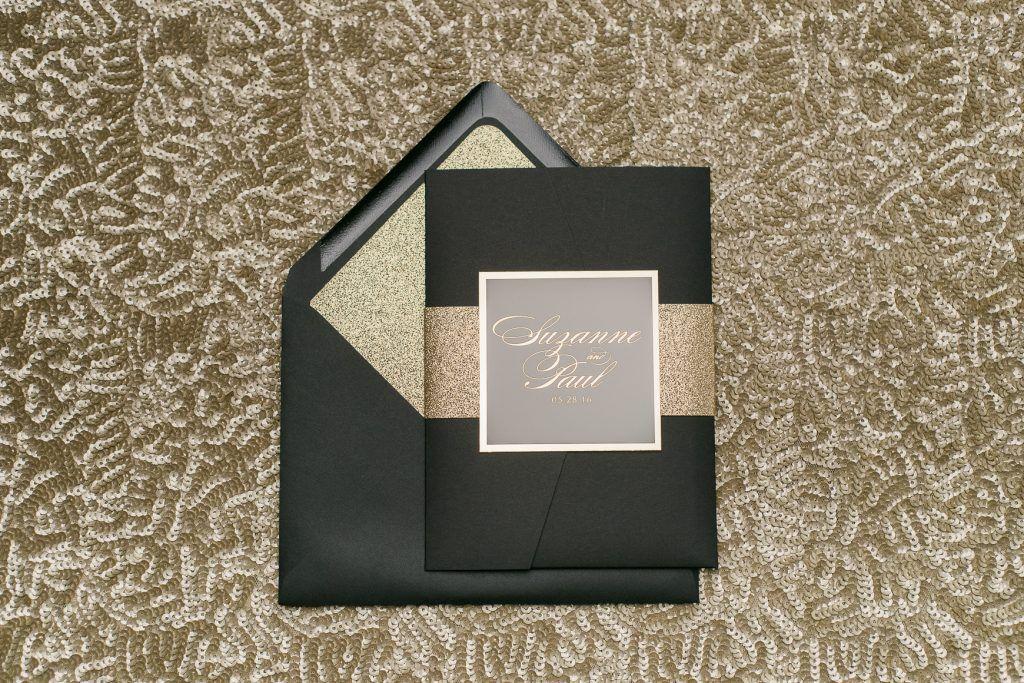 gold foil wedding invitations pocket folder elegant glitter