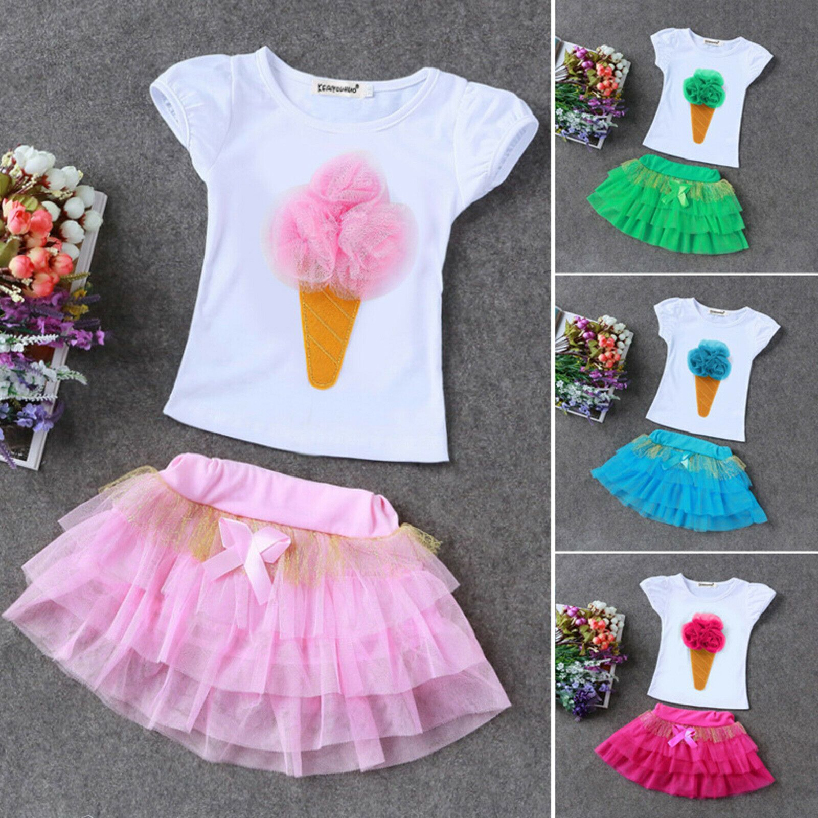 Fashion Kids Baby Girls Rainbow Vest Tops Tulle Skirt Tutu Dress Outfits Clothes
