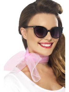 White Dress Up Glasses 50s Sheer Square Scarf CatEyeGlassesmit Polka Dot 50s