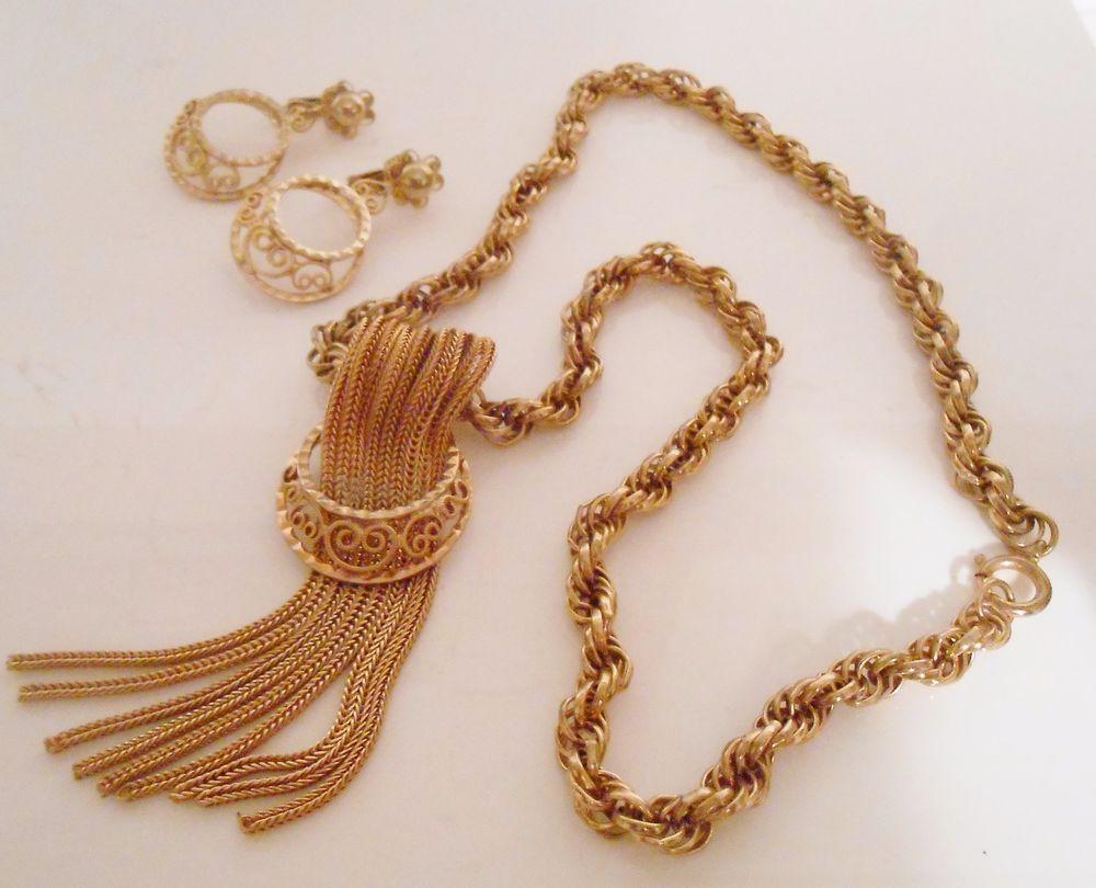 Hobe Tassel Necklace & Filigree Clip Dangle Earrings Rope Chain  #Hobe