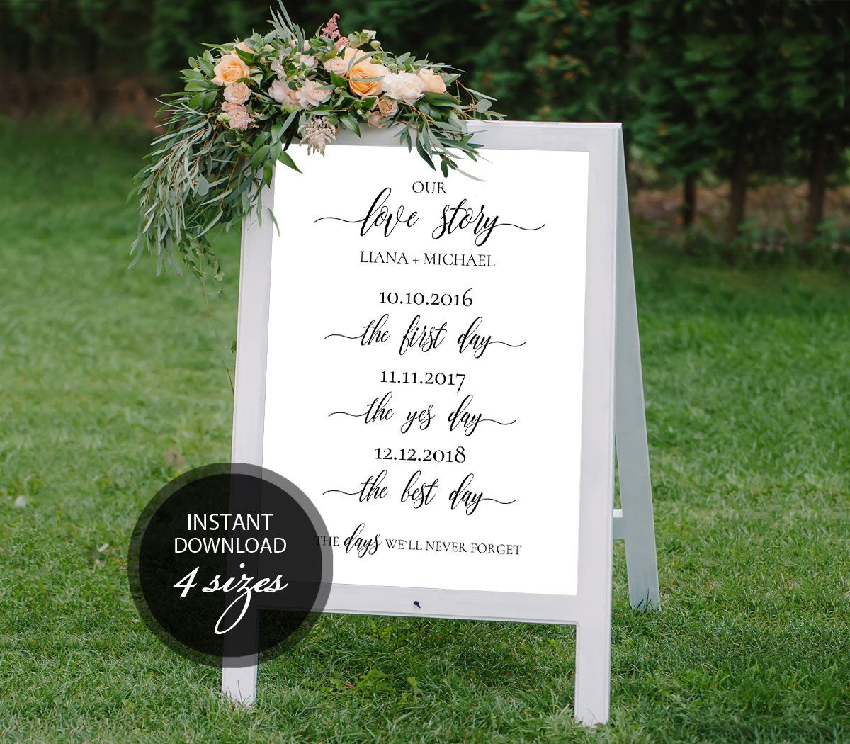 Editable PDF Love Story Sign Wedding Love Story Timeline