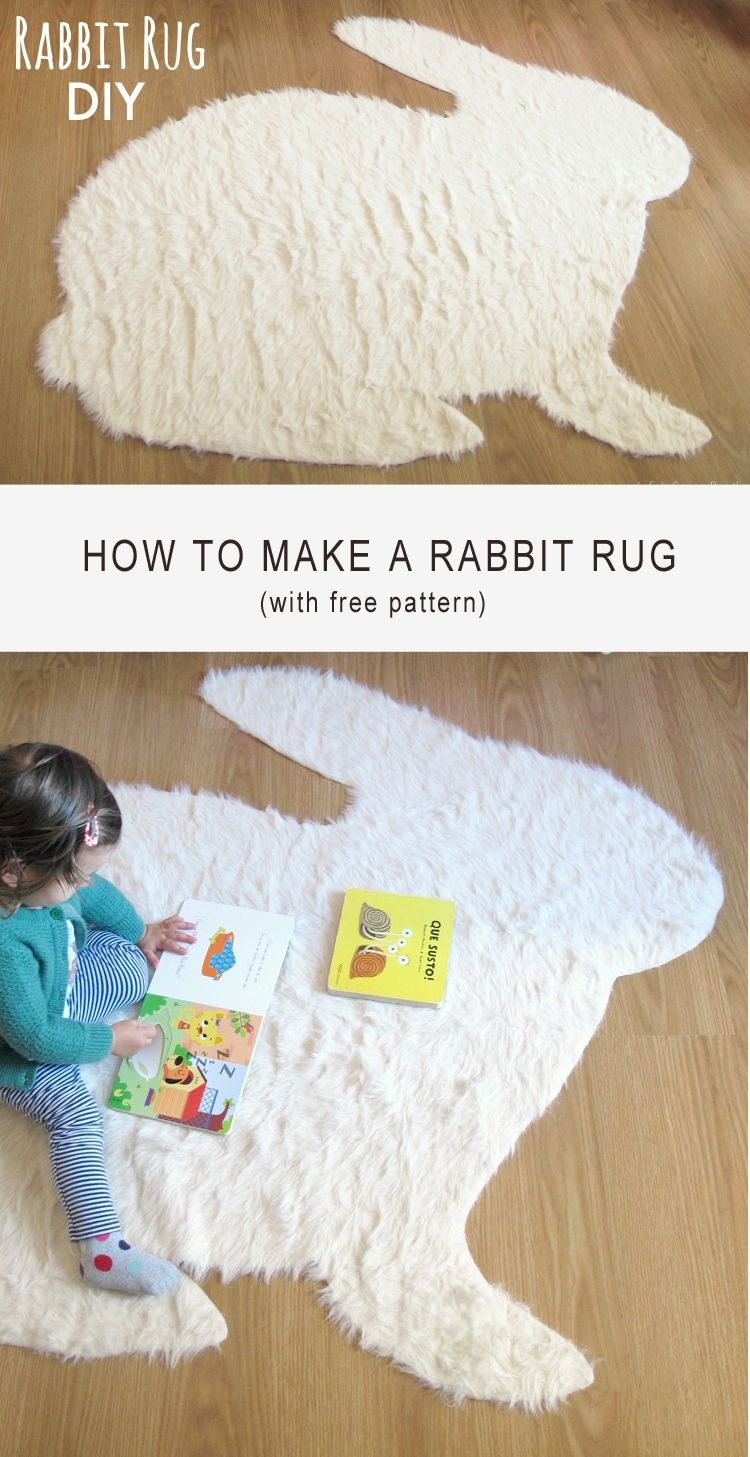 no sew rabbit rug diy sew featured pinterest bricolage couture et deco. Black Bedroom Furniture Sets. Home Design Ideas