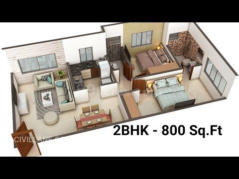 """2BHK House Interior Design 800 Sq Ft"" by CivilLane"