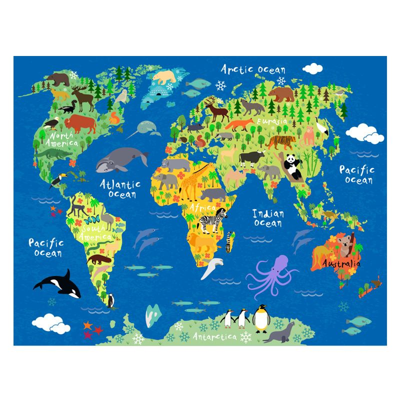 Animals world map 26w x 20h poster mural fabric decal fabrics sale animals world map 26w x 20h poster mural fabric decal american decals gumiabroncs Choice Image