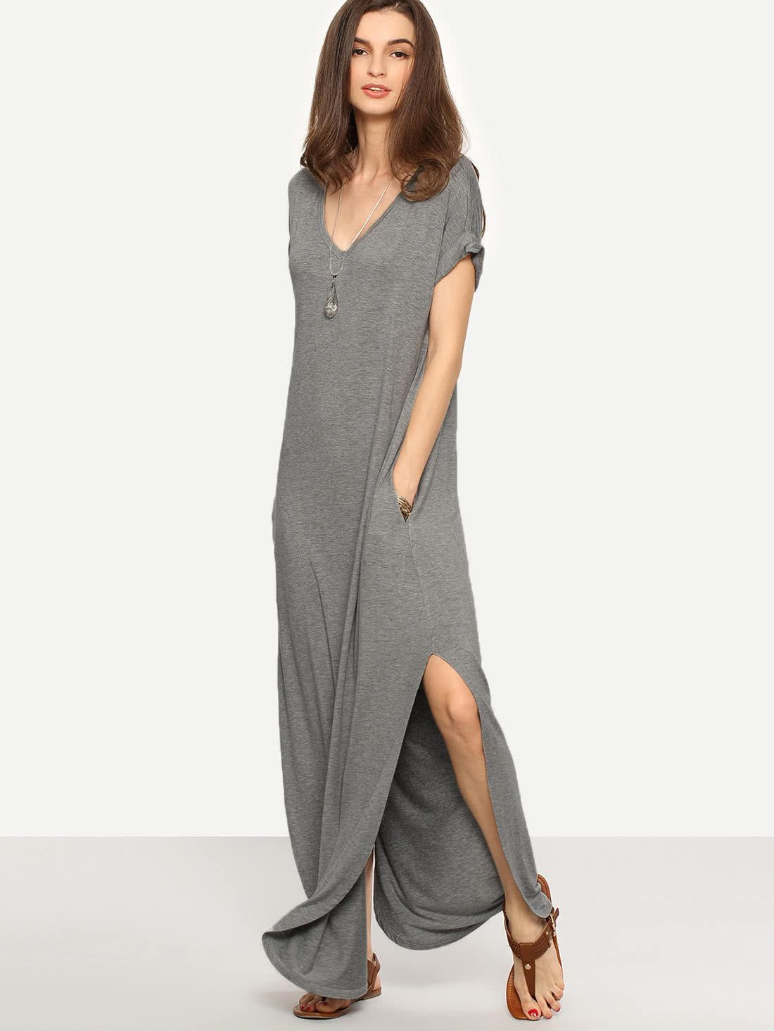 f6179b4f7c ... L:39cm Fabric: Fabric is very stretchy Season: Summer Pattern Type:  Plain Sleeve Length: Short Sleeve Color: Grey Dresses Length: Maxi Style:  Casual, ...