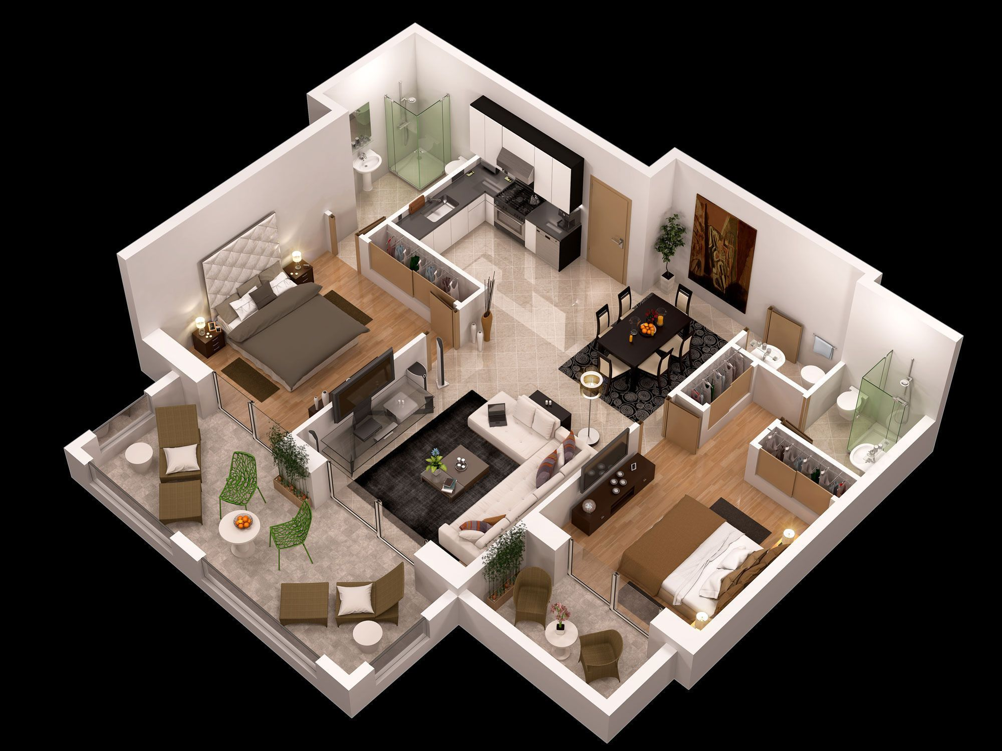 detailed floor plan 3d model max - 3d Floor Plan Free
