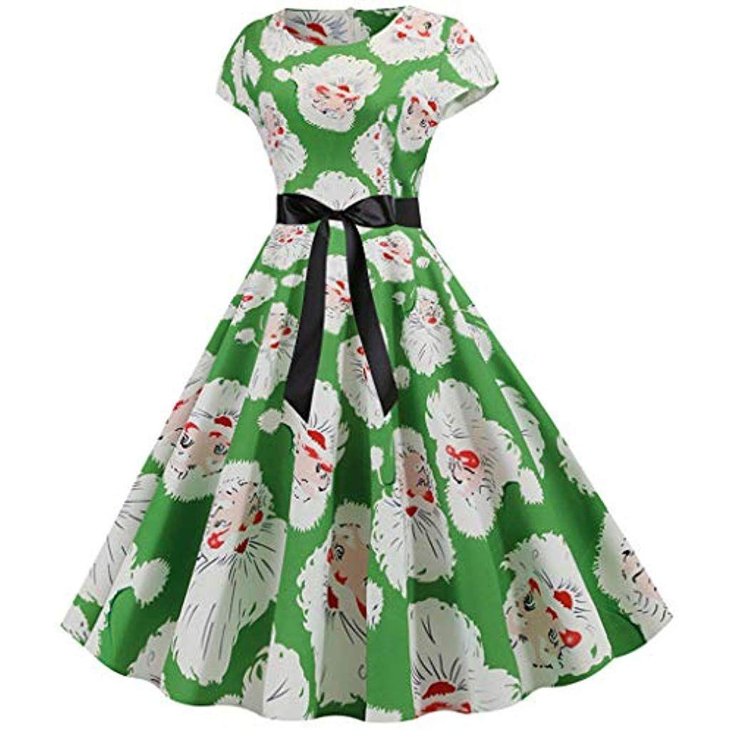 leeafly damen weihnachtskleid elegant elastisch hohe taille