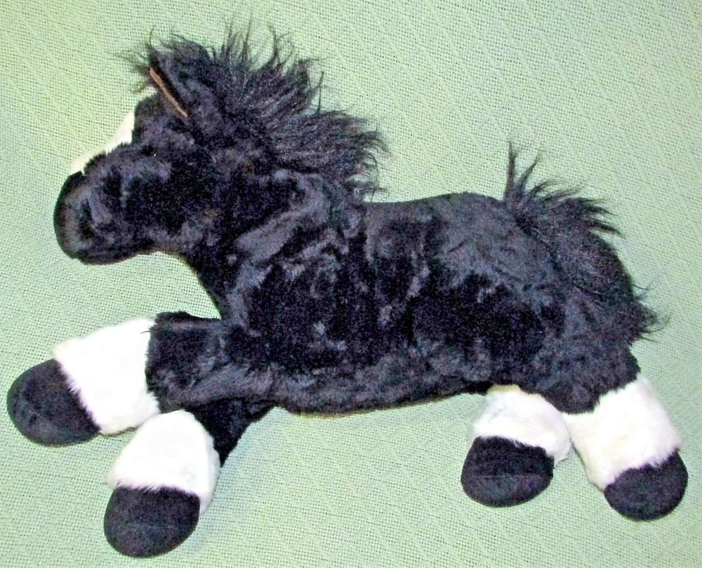 "Walmart 22"" Black HORSE LARGE Stuffed Animal White Animal"