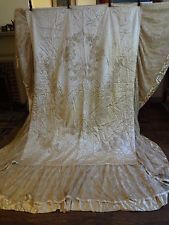 """Vintage 1930's 30's ivory quilted satin gaze lace bedspread 54 x 78"""" 22"""" skirt"""
