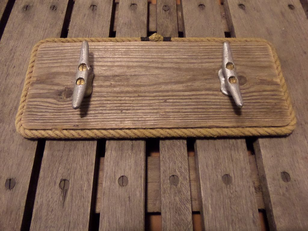 Coat Rack Reclaimed Distressed Wood Lined With Rope And Cleats 2 Hooks Nautical Beach Lake House By Alaskarugcompan With Images How To Distress Wood Lake House Boat Cleats