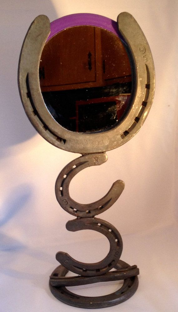 Table top stand alone Mirror made from steal horseshoes ...
