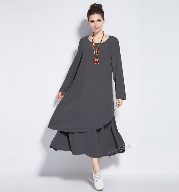 adc08cdb7c1 Anysize Soft Linen&Cotton Winter Dress plus size dress plus size clothing  Spring Fall Winter dress Y