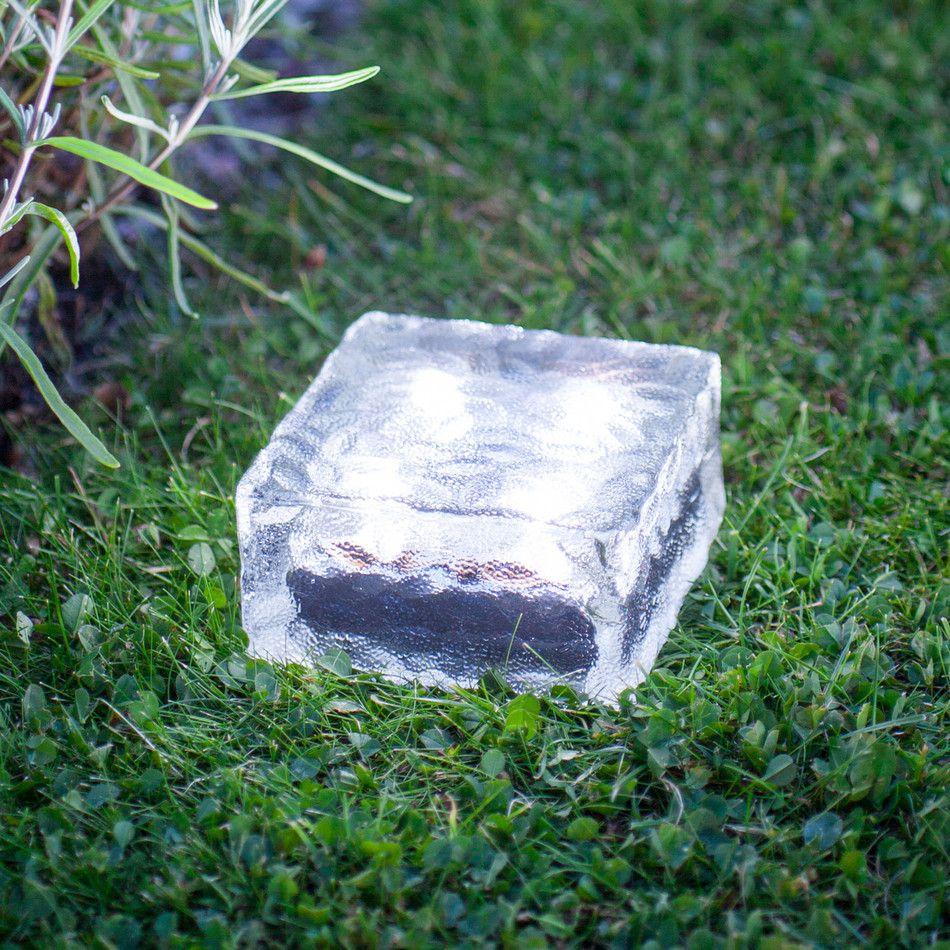 Large Solar Garden Path Light Glass Brick 4 White LEDs Glass