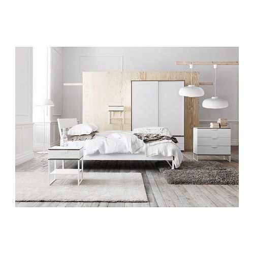 trysil cadre de lit blanc gris clair d co syle ambiance couleurs pinterest lit ikea. Black Bedroom Furniture Sets. Home Design Ideas