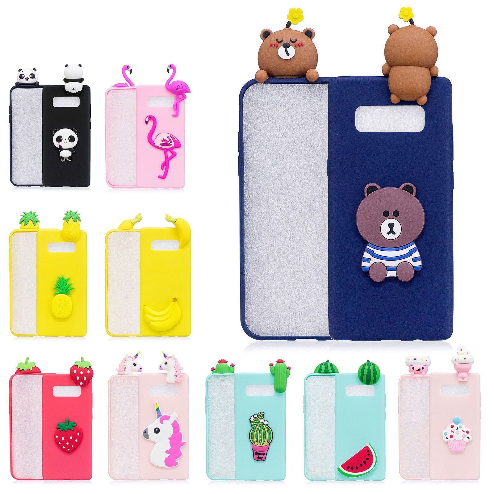 separation shoes 1b367 c2176 3D Cute Cartoon TPU Hybrid Case Cover For Samsung Galaxy Note 8 S8 ...