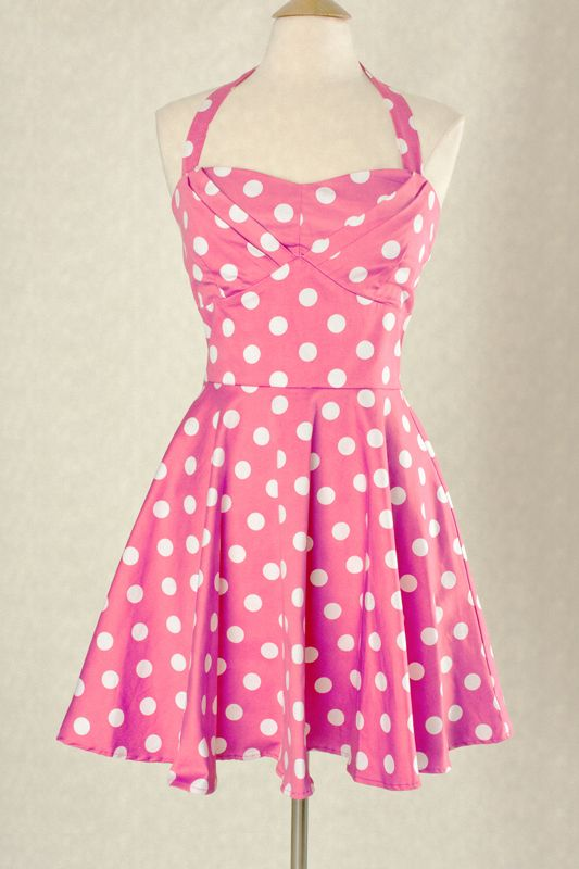 pink and white polka dot top | Hot Pink & White 50s Vintage Style ...