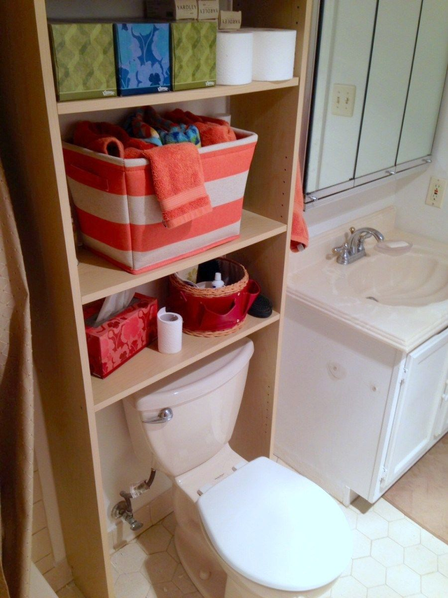 ikea bookcase storing bathroom items and bottom shelves removed to fit around toilet - Bathroom Cabinets That Fit Over The Toilet