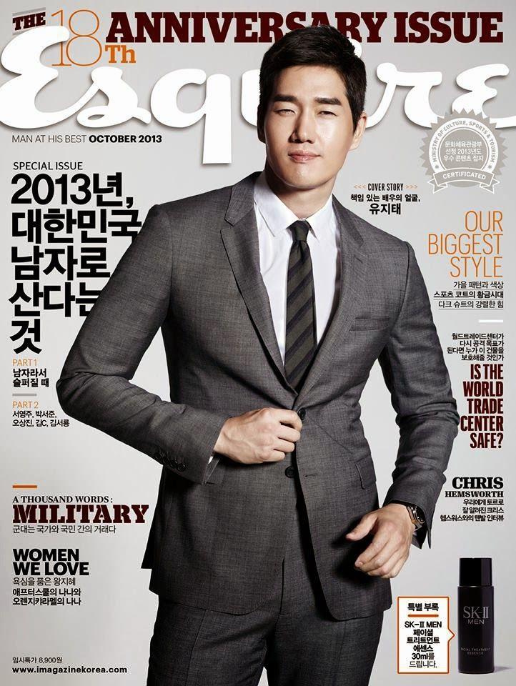 Male Fashion Trends: Yoo Ji Tae (유지태) en portada de Esquire Korea Octubre 2013cov