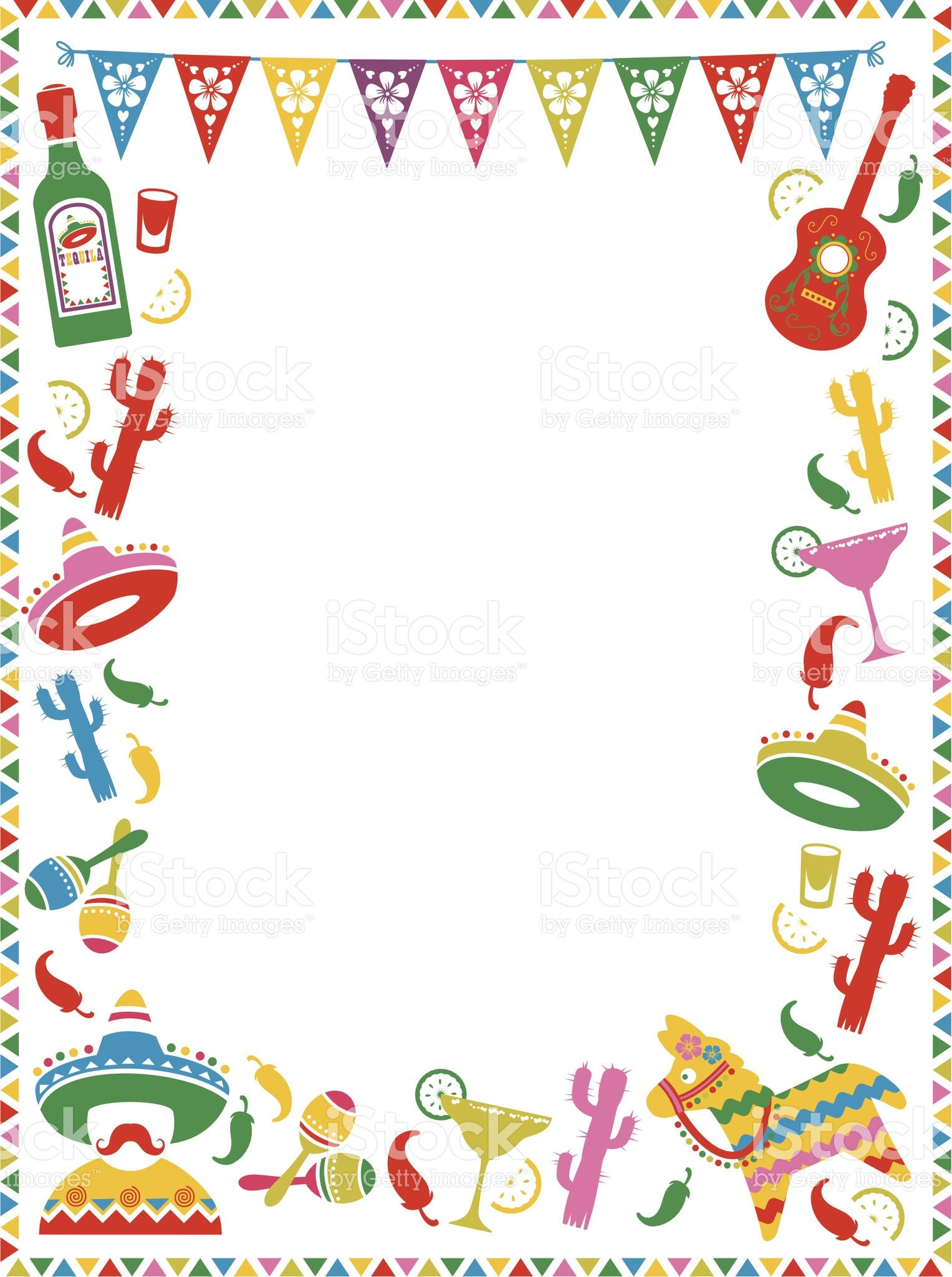 A mexican themed border ideal for menus or party invites see below mexican party frame royalty free stock vector art stopboris Image collections