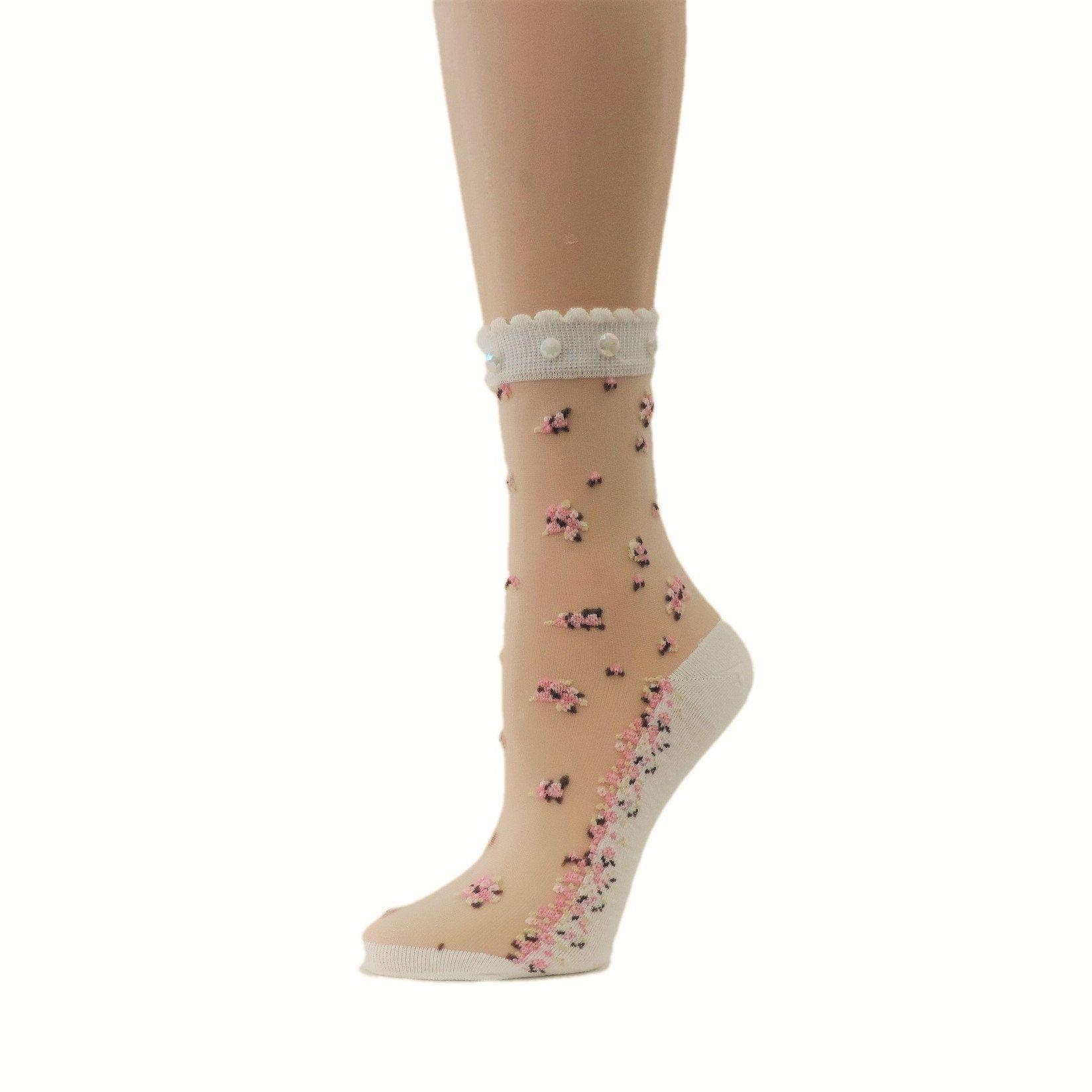 9c808c298 Women Sheer Socks/Hand Beads Work/Beads Sequence Work/Women Socks/Crystal  Lace/Transparent Socks/Fancy Socks/Fashion Socks/Floral Socks/ by  GlobalTrendzShop ...