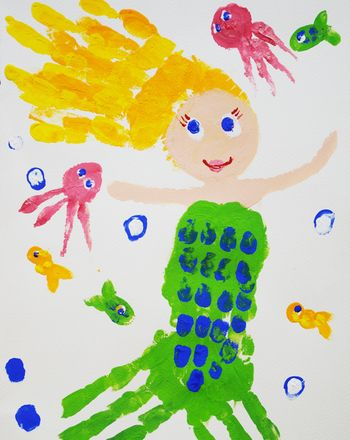 Paint A Handprint Mermaid Summer CraftsCrafts