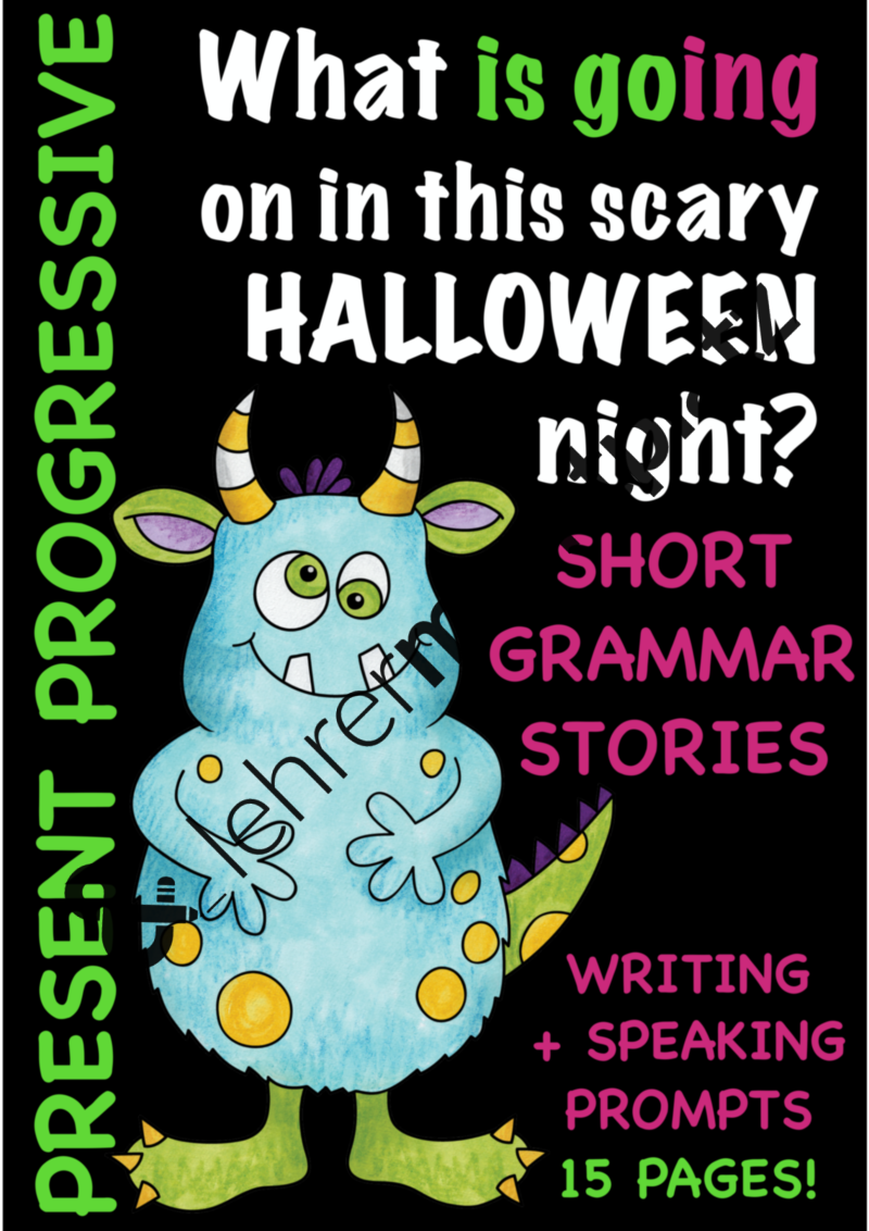 Scary HALLOWEEN night! - PRESENT PROGRESSIVE: Short grammar stories ...
