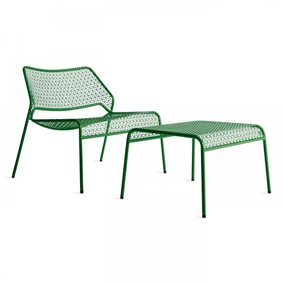 Green metal lounge chair and ottoman corner from blu dot