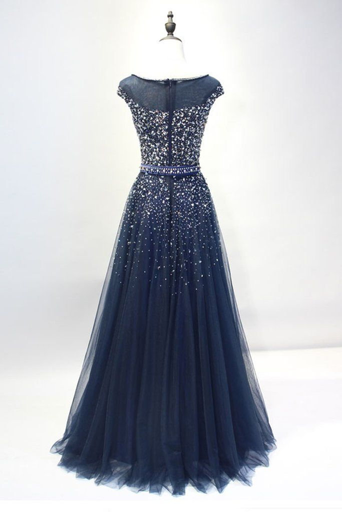 80b3c6159 Dark blue tulle sequins round neck full-length prom dresses, A-line evening  dresses with straps - prom dresses 2018