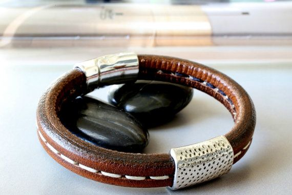Stitched Leather Bracelet Brown Leather Bracelet Man's Leather Bracelet Men's Bracelet Leather Bracelet Men Bracelet Mans / Man Bracelet