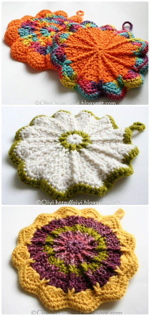 40 Crochet Pot Holder Hotpad Free Patterns #crochetpotholderpatterns